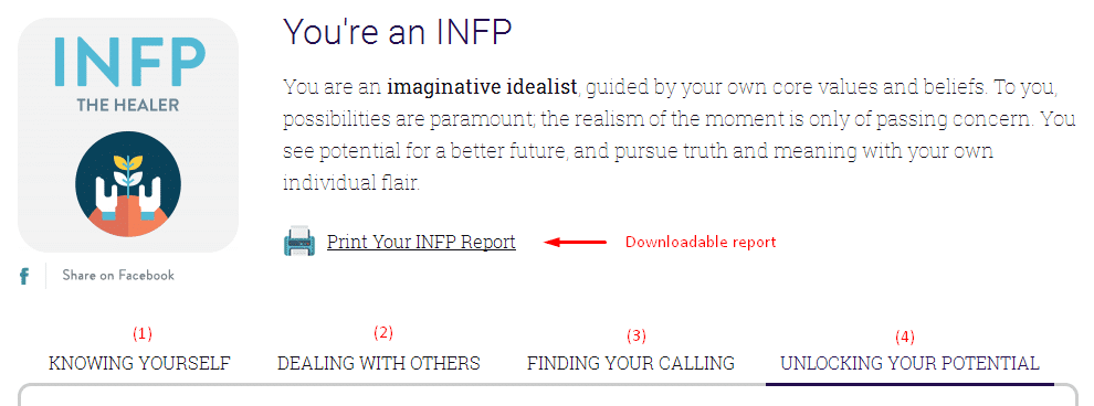 my type finder personality test result